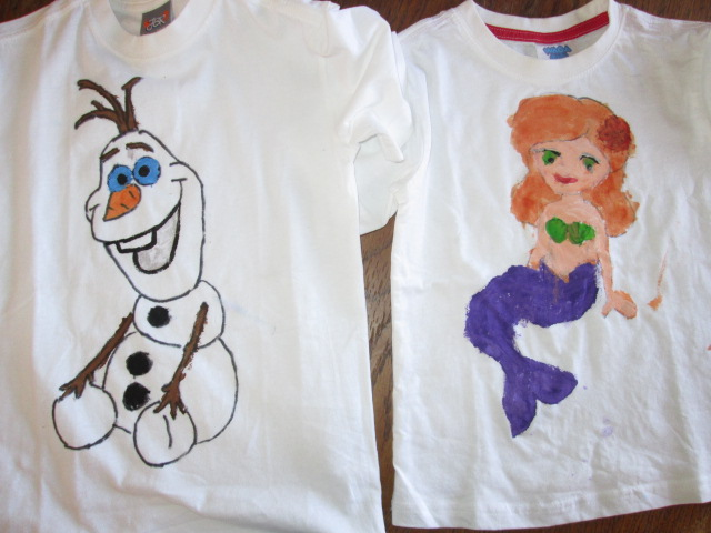 Fabric painted t shirts kids craft for acacia s birthday for How to paint on t shirt