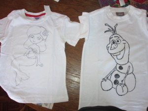 Olaf and Mermaid traced outlines