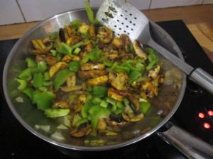 Tuna curry in pan