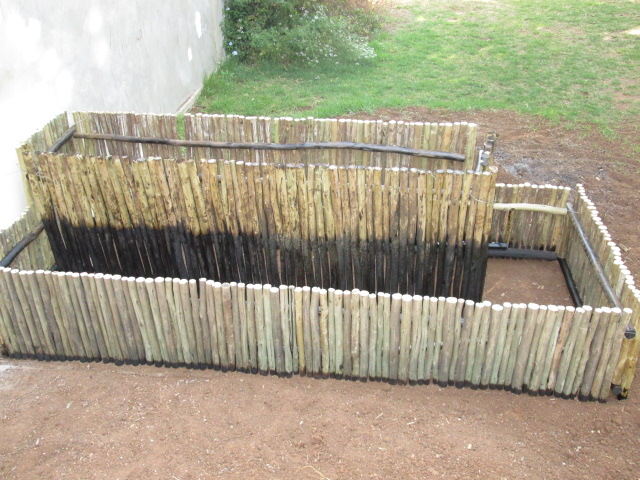 Herb box showing ends treated with creosote