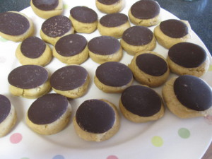 Cookies with chocolate discs uncooked