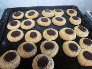 Peanut butter cookies with choc discs - baked