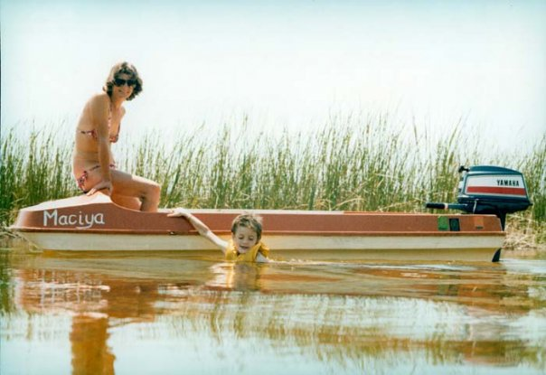 My Mum and brother on Maciya at Okavango swamps