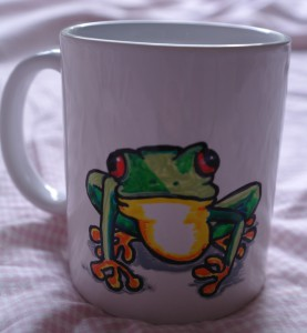 Tree frog mug, every Christmas, Birthday and fathers day the children give Cliff something with a frog.