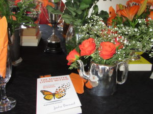 Our table at the book launch lovingly decorated by Jackie's sister Nikki