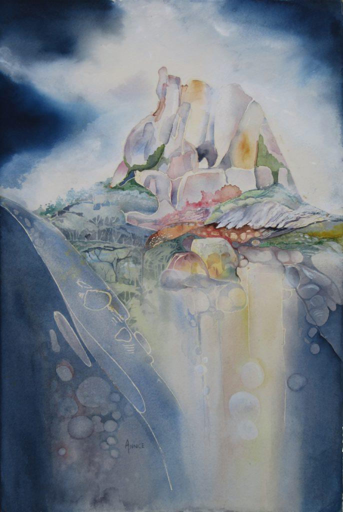 Watercolour in contemporary white frame R1100