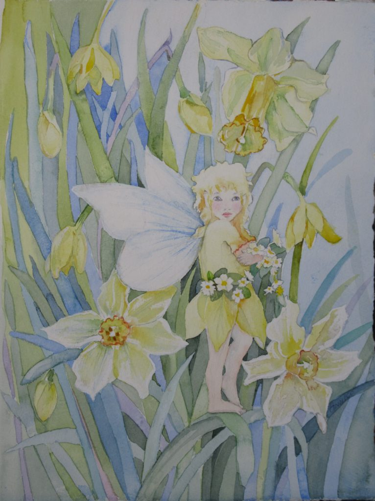 Fairies and flowers belong together. This daffodil fairy is a little shy but the flowers love to show their cheerful faces. This watercolour framed in a contemporary white frame is 38 x 28 cm. Price R1200