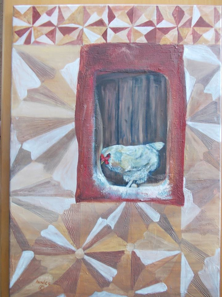 Original unframed Oil painting on canvas with textured surface. 600mm x 850mm. R3600. This painting of a chicken roosting depicts a typical boarded up window and wall decorated in the scraped patterns of the Sotho people of South Africa.