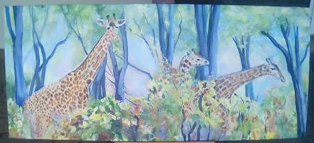 giraffe acrylic painting on canvas is 45 x 106 cm . selling price R2500