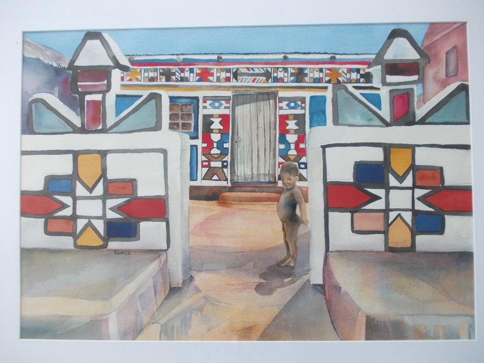 African Ndebele dwelling. This is an original watercolour, Framed in a contemporary white frame Size 570mm x 400 mm. Price R2500