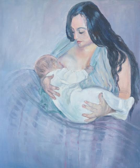 This painting is currently a finalist in an art competition promoting breastfeeding